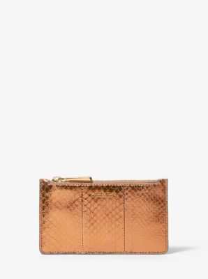 마이클 코어스 카드지갑 Michael Kors Small Metallic Snakeskin Card Case,COPPER