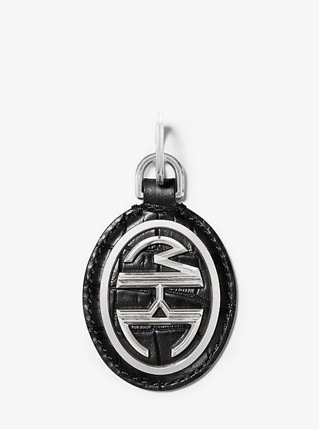 Porte-clés Monogramme en cuir à relief effet crocodile - NOIR(NOIR) - Michael Kors
