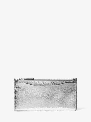 마이클 코어스 카드지갑 Michael Kors Large Crackled Metallic Leather Card Case,SILVER