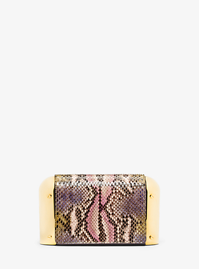 Leyla Small Hand-Painted Python Clutch by Michael Kors