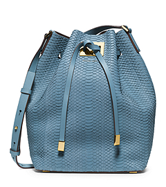 Miranda Large Sueded-Snakeskin Messenger