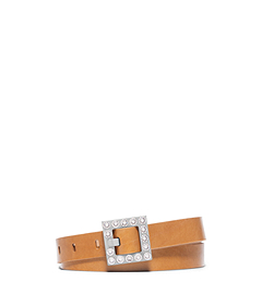Pavé-Embellished Vachetta Leather Belt