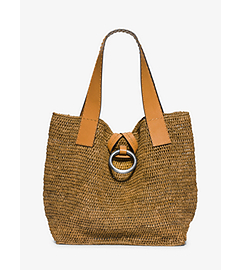 Janey Large Raffia Tote