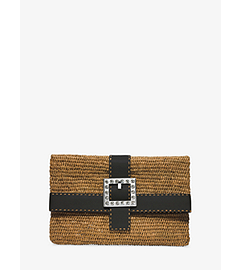 Janey Large Crystal-Embellished Raffia Clutch