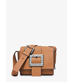 Janey Small Pavé-Embellished Leather Crossbody