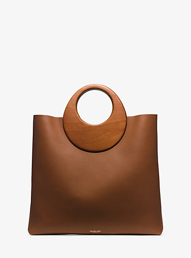 Summerset Wooden-Handle Leather Tote by Michael Kors