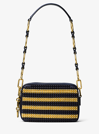 Julie Small Studded Leather Camera Bag by Michael Kors