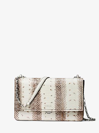 Yasmeen Medium Snakeskin Shoulder Bag by Michael Kors