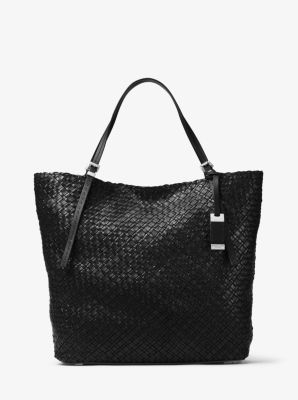 마이클 코어스 허턴 라지 우븐 토트백 블랙 Michael Kors Hutton Large Woven-Leather Tote,BLACK