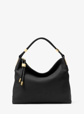 Michael Kors Skorpios Large Leather Shoulder Bag,BLACK