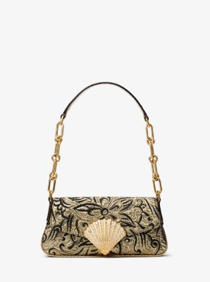 Michael Kors Amalfi Mini Floral Brocade Shoulder Bag,GOLD