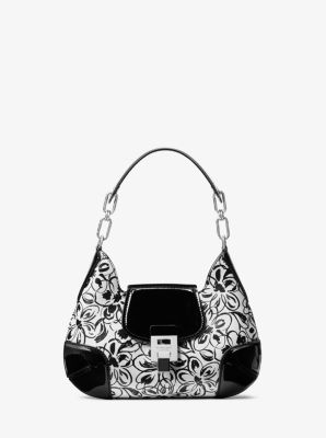 Michael Kors Bancroft Small Painterly Floral Calf Leather Shoulder Bag,OPTIC WHITE