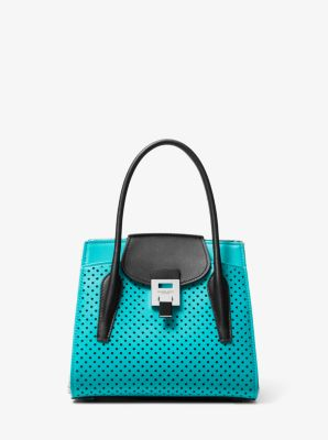 Michael Kors Bancroft Medium Color-Block Perforated Leather Satchel,TURQUOISE