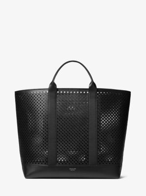Michael Kors Georgica Oversized Perforated Leather Tote,BLACK