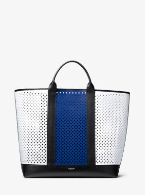 Michael Kors Georgica Oversized Color-Block Perforated Leather Tote