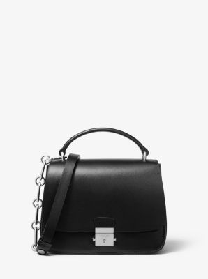 마이클 코어스 미아 사첼백 Michael Kors Mia Small Calf Leather Shoulder Satchel,BLACK