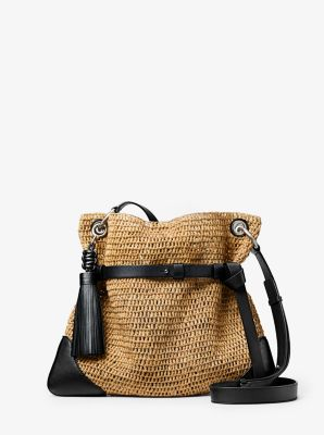 Michael Kors Sedona Raffia Messenger Bag,BLACK