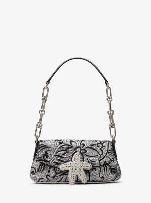 Michael Kors Amalfi Mini Floral Brocade Shoulder Bag,SILVER/BLACK