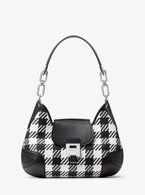 Michael Kors Bancroft Medium Gingham Woven Calf Leather Shoulder Bag,BLACK/WHITE