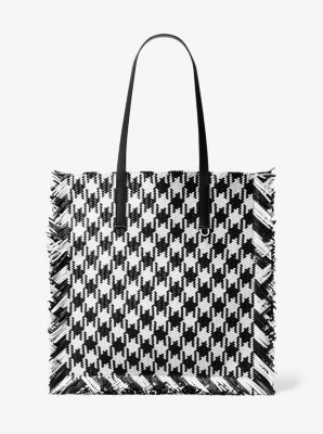 Michael Kors Maldives Large Gingham Woven Leather Tote,BLACK/WHITE