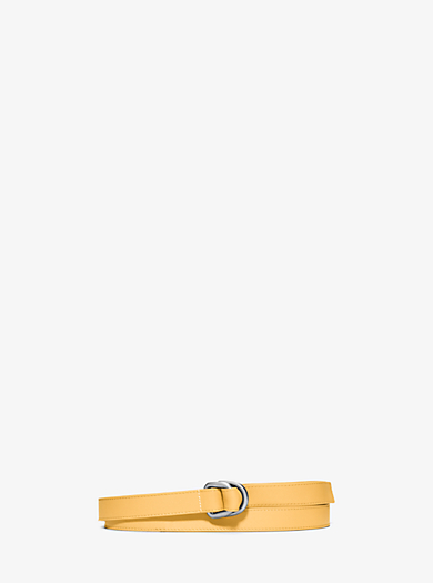 Double-Ring Leather Belt  by Michael Kors