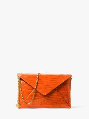 Michael Kors Runway Crocodile Envelope Clutch,CLEMENTINE
