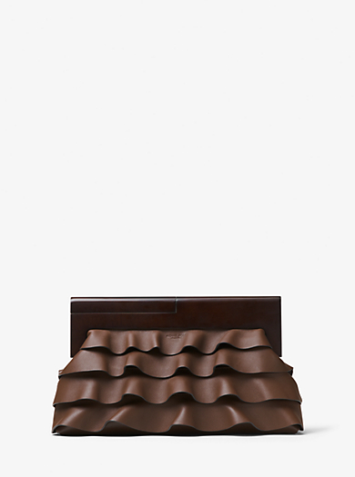 Stanwyck Ruffled Leather Clutch by Michael Kors