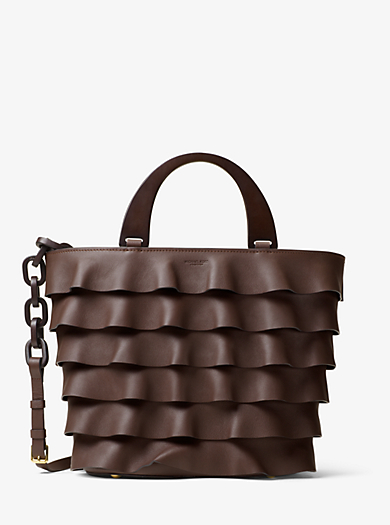 Stanwyck Large Ruffled French Calf Tote by Michael Kors