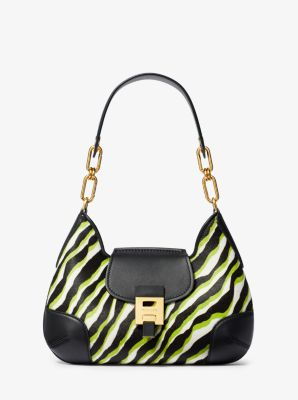Michael Kors Bancroft Medium Zebra Calf Hair Shoulder Bag,LIME