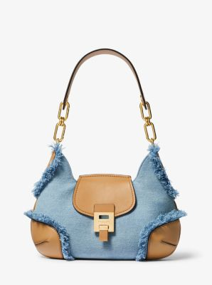 Michael Kors Bancroft Medium Frayed Denim Shoulder Bag,CHAMBRAY