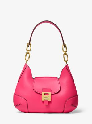 Michael Kors Bancroft Medium Calf Leather Shoulder Bag,WATERMELON