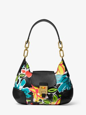 Michael Kors Bancroft Medium Floral Calf Leather Shoulder Bag,BLACK