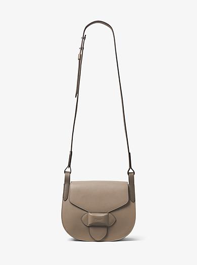 Daria Medium French Calf Leather Saddlebag by Michael Kors