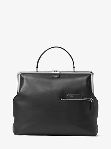 Angela Large French Calf Leather Top-Handle Bag by Michael Kors