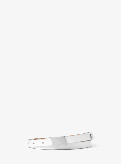 Skinny French Calf Leather Scout-Buckle Belt by Michael Kors