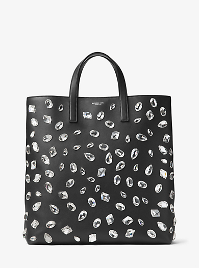 Carolyn Large Crystal-Embellished Leather Tote by Michael Kors