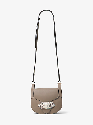 Daria Small Leather and Snakeskin Saddlebag by Michael Kors