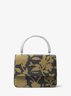 마이클 코어스 Michael Kors Kylie Small Floral Leather Top-Handle Bag,Army/Black