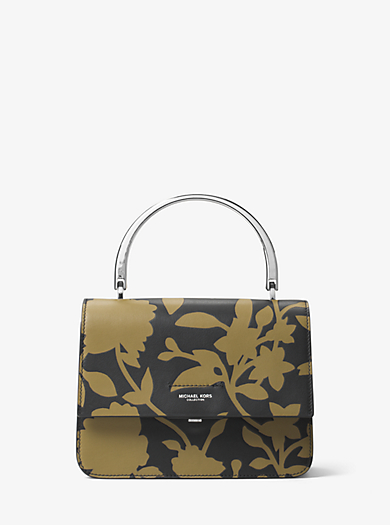 Kylie Small Floral Leather Top-Handle Bag by Michael Kors
