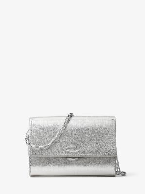 Yasmeen Small Metallic Leather Clutch by Michael Kors