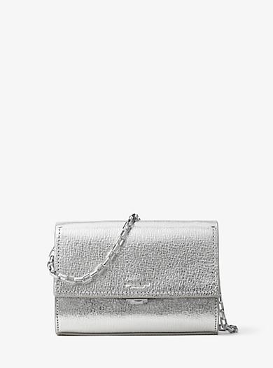 Yasmeen Small Metallic Leather Clutch by Michael Kors