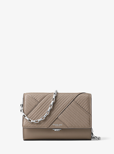 Yasmeen Small Quilted-Leather Clutch by Michael Kors