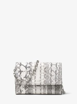 마이클 코어스 야스민 스몰 클러치백 Michael Kors Yasmeen Small Snakeskin Clutch,NATURAL