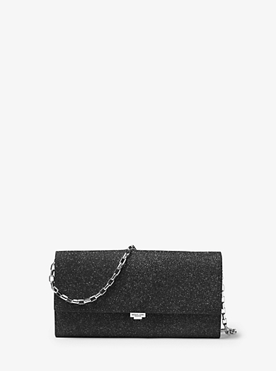Yasmeen Large Glitter Leather Clutch by Michael Kors