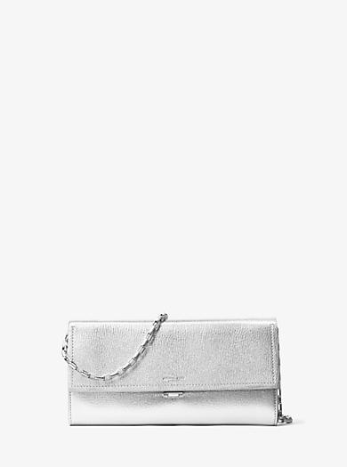 Yasmeen Large Metallic Leather Clutch by Michael Kors