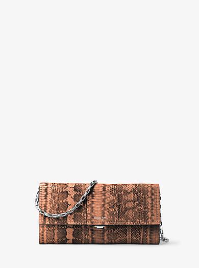Yasmeen Large Snakeskin Clutch by Michael Kors