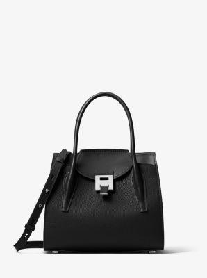 Michael Kors Bancroft Medium Pebbled Calf Leather Satchel,BLACK