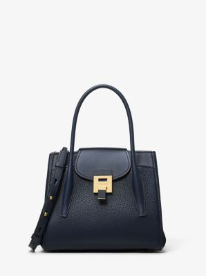Michael Kors Bancroft Medium Pebbled Calf Leather Satchel,MARITIME