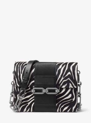 Michael Kors Cate Medium Zebra Calf Hair Shoulder Bag,BLACK/WHITE