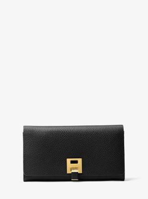 마이클 코어스 밴크로프트 장지갑 Michael Kors Bancroft Pebbled Calf Leather Continental Wallet,BLACK